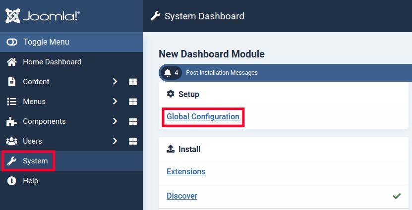 Access the Joomla 4 Global Configuration