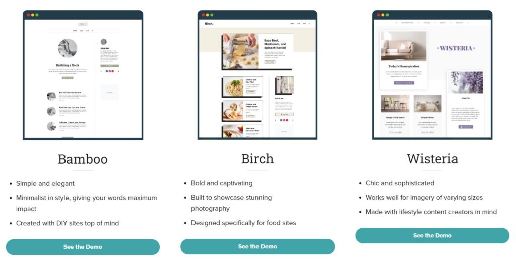 A paid Trellis subscription includes the core framework, as well as three different customizable child themes: Bamboo, Birch, and Wisteria.