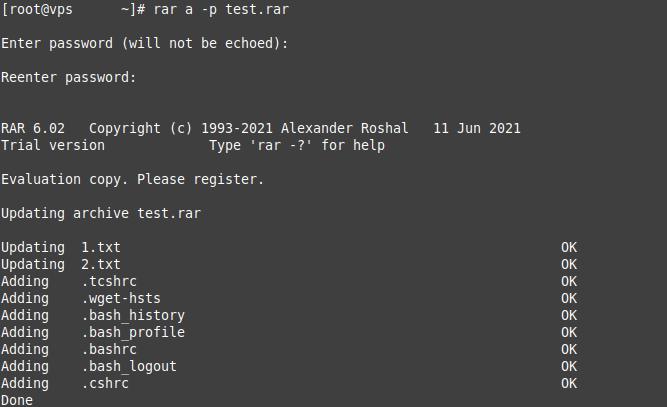 Password Protect the rar archive