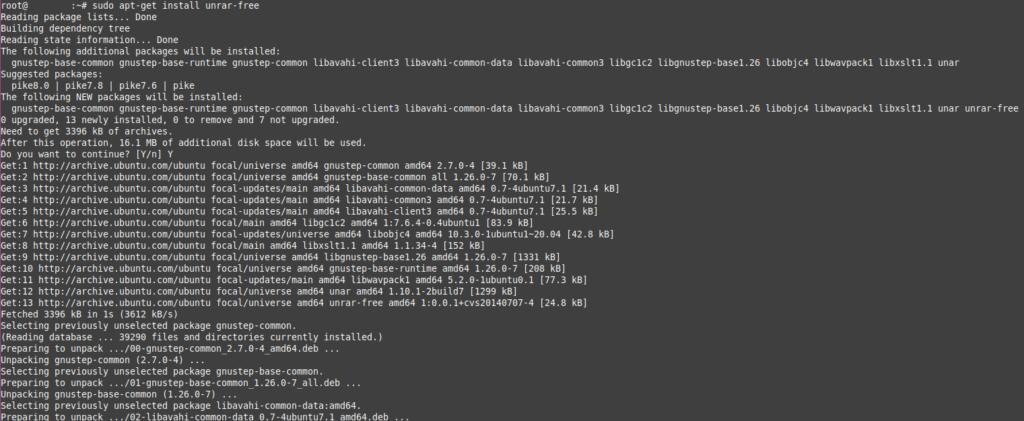 Installing unrar in Ubuntu Server