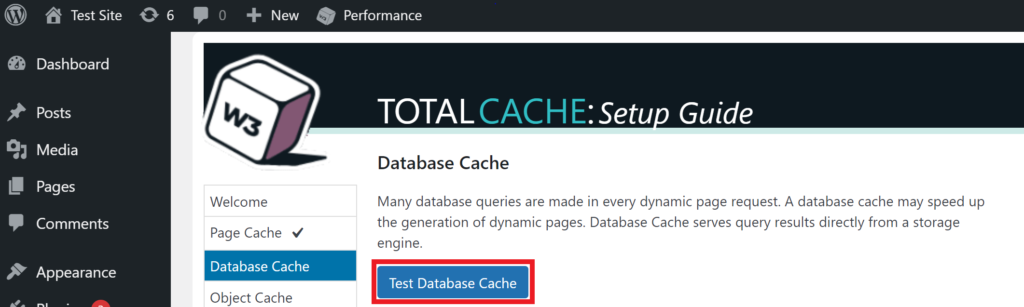 To test your database, simply click Test Database Cache from within your W3 Total Cache Settings.