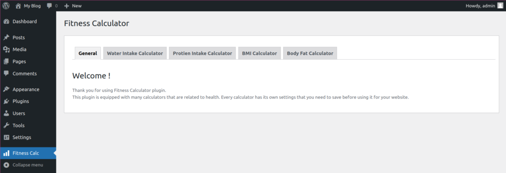 fitness calculators WordPress plugin settings