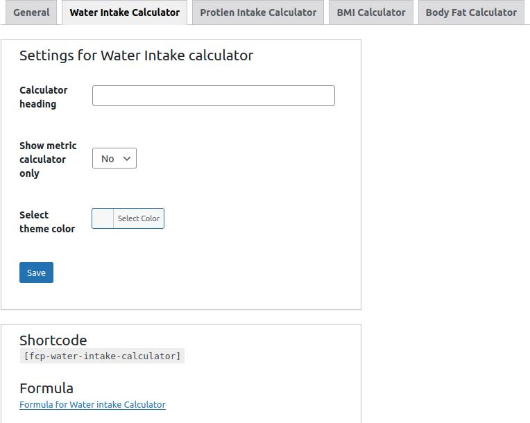 Water intake calculator settings