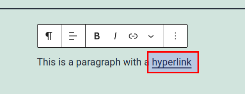 Underlined text with active hyperlink