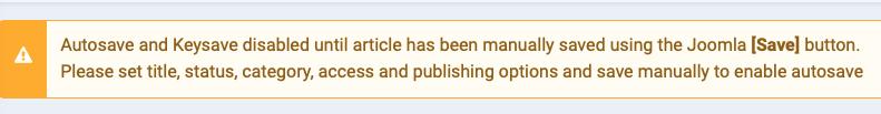 joomla autosave extension warning