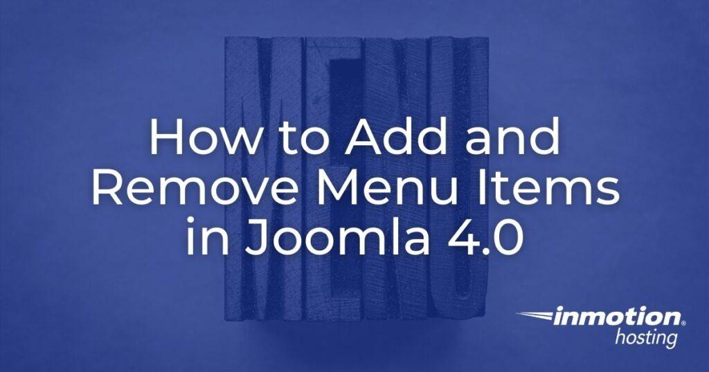 add remove joom4 menu