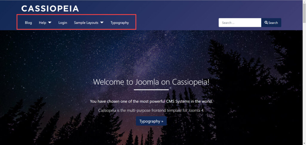 menu shown in the home page of the Cassiopeia theme in Joomla 4.0