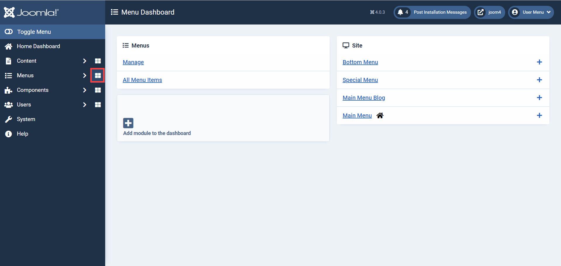 Menu Dashboard page