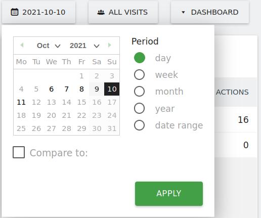 Matomo calendar selection