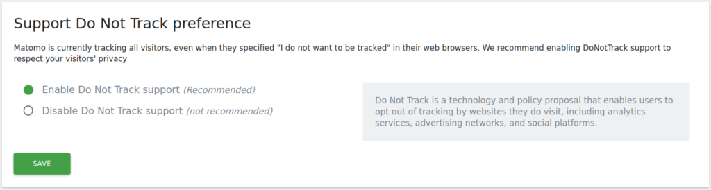 Matomo Support Do Not Track preference