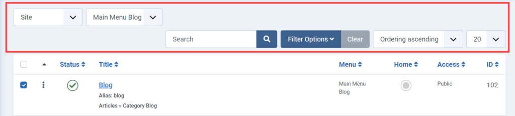 Menu interface -filtering options