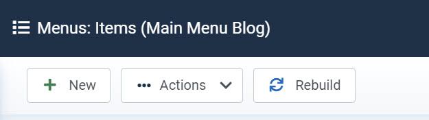 Menu actions toolbar