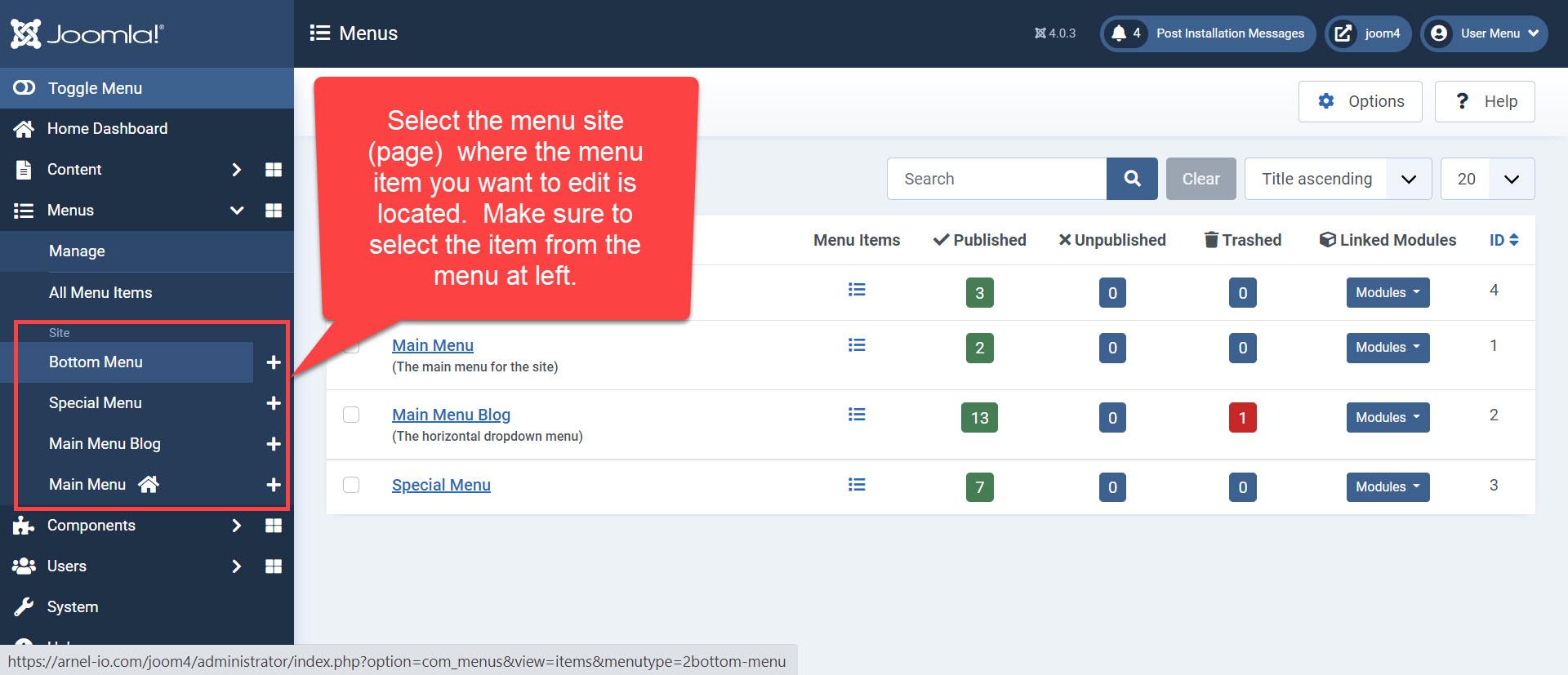 Select menu site - Joomla 4.0