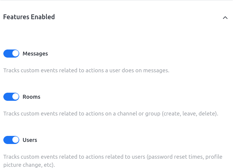Rocket.Chat analytics features enabled