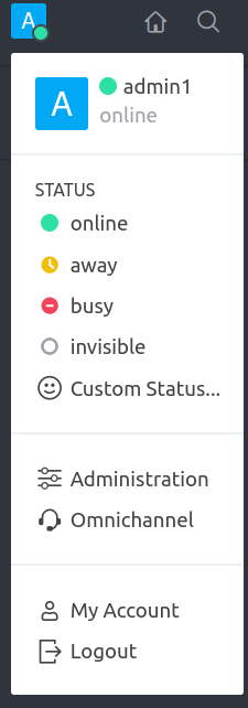 Rocket.Chat user menu options